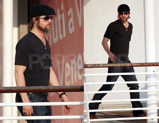 Photos de Brad Pitt qui revient a Venise pour rendre visite a Angelina Jolie et a leurs six enfants
