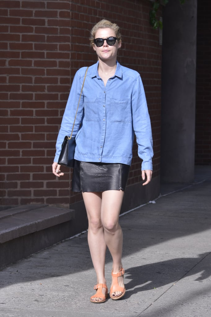 A denim and leather pairing, like Rachael Taylor's, is entirely edgy and can be dressed up with high heels.