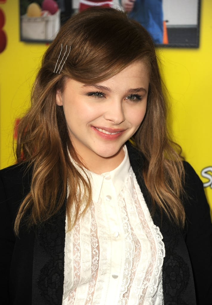Chloë Grace Moretz secured her sideswept bangs with a few gunmetal bobby pins, proving the best things come in sets of three.