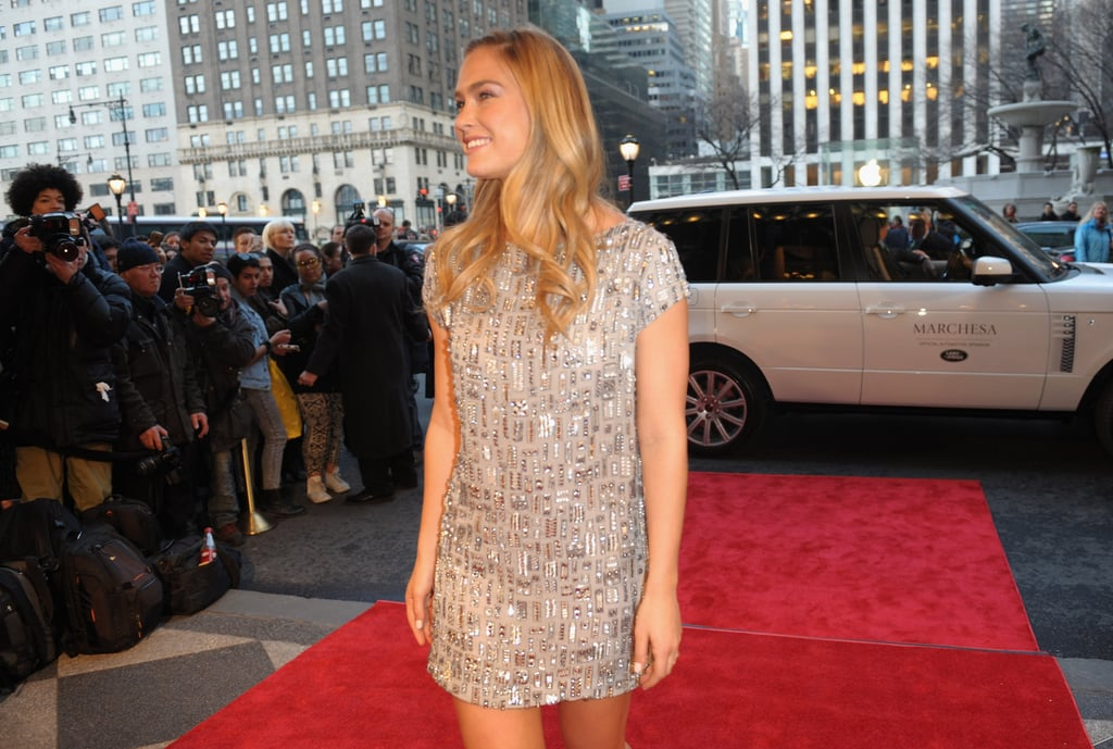 Bar Refaeli posed for photographers at Marchesa.