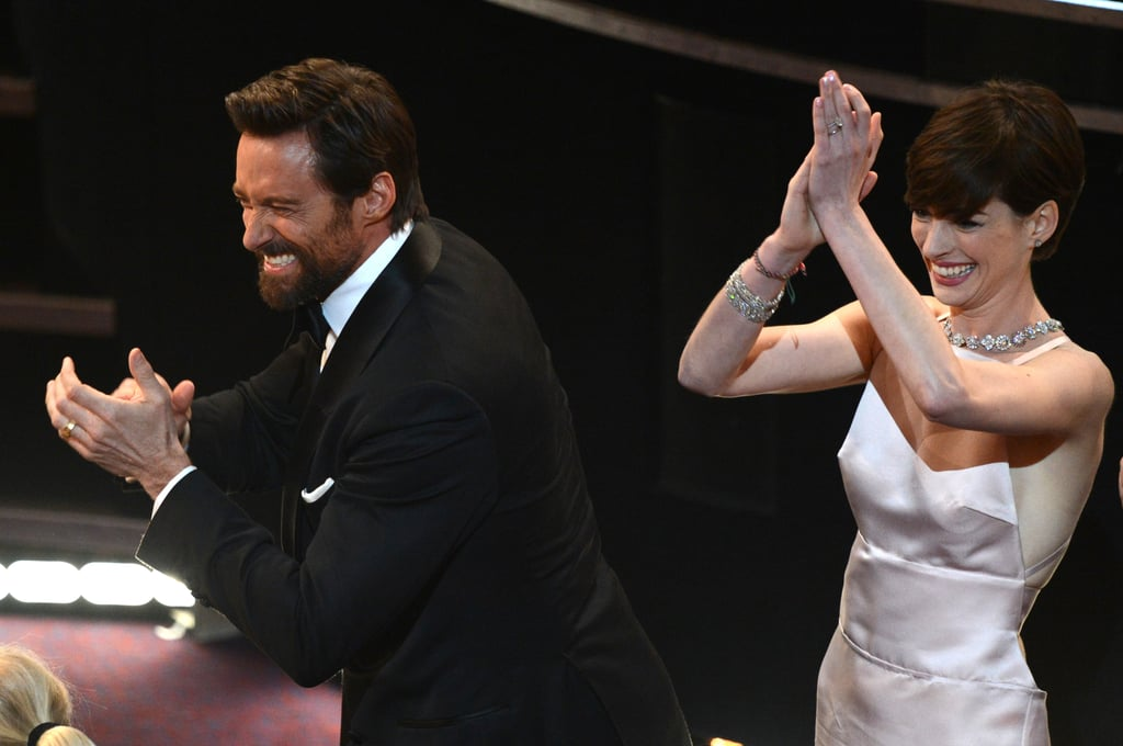 Hugh Jackman and Anne Hathaway cheered in the audience.