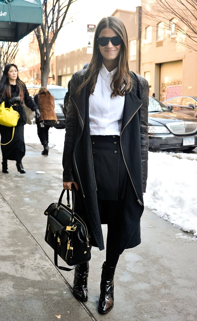 Stick to a classic outfit underneath for a more sophisticated turn — crisp white blouses, wool pencil skirts, and thick tights do wonders for flattering your form, too.
