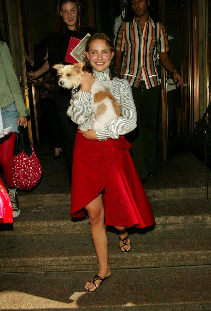 Natalie Portman's dog was her accessory at Zac Posen's September 2003 show.