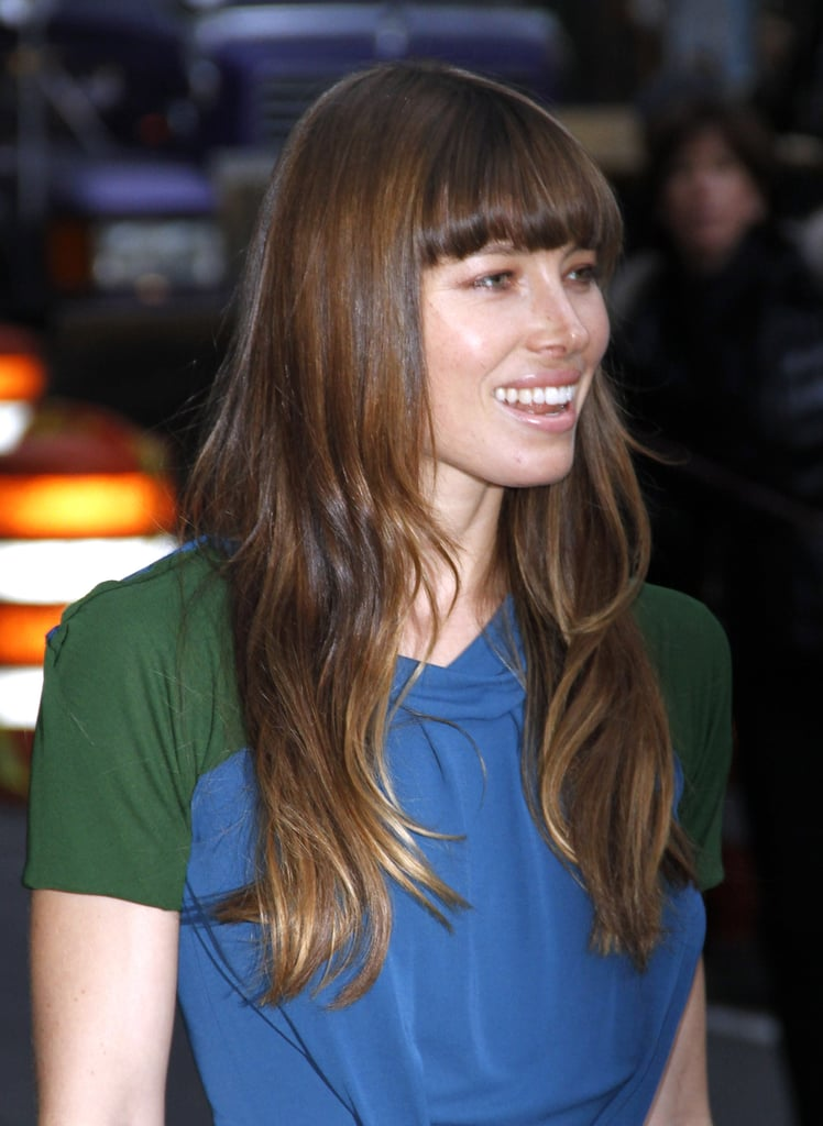 Jessica BIel wore loose hair and natural makeup while out in NYC.