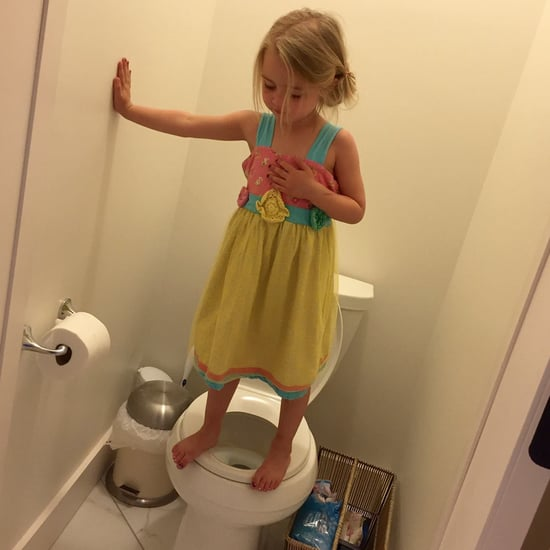 Girl Standing on Toilet in Gun Lockdown Drill