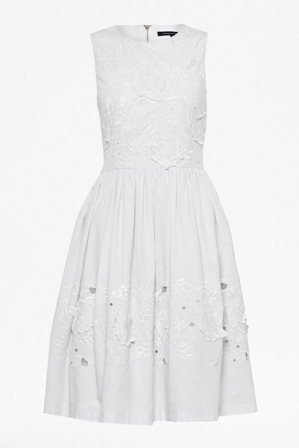 French Connection Fit-and-Flare White Dress