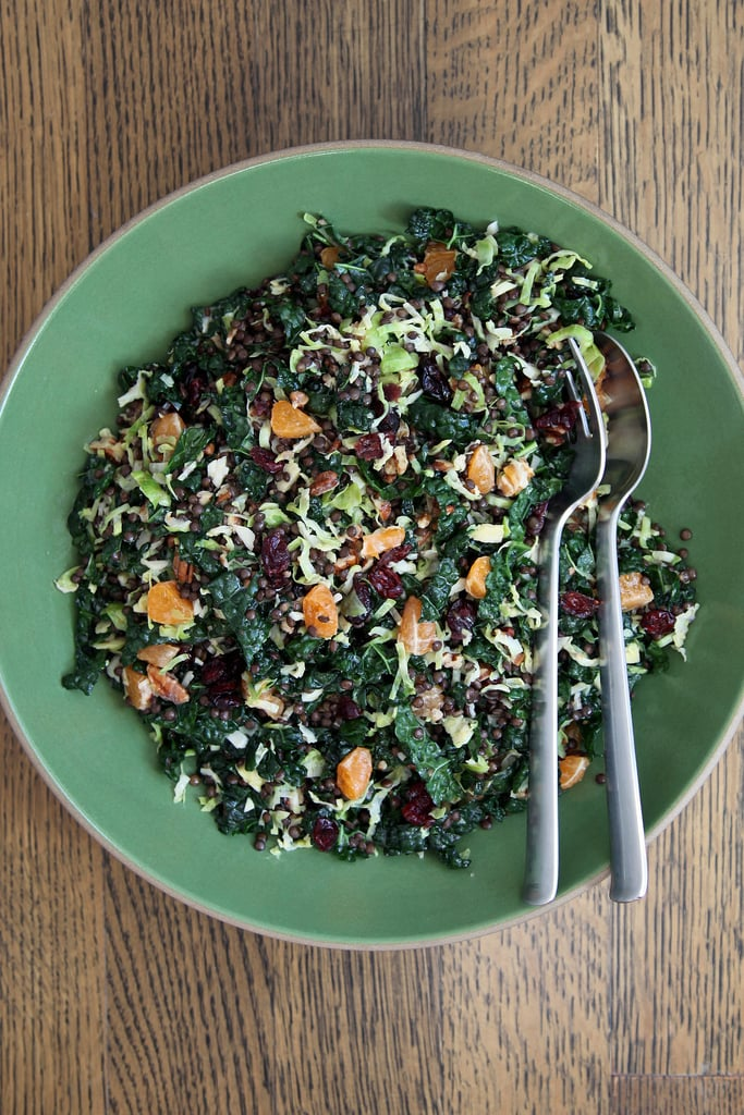 Brussels Sprout, Kale, and Lentil Salad With Citrus and Cranberries