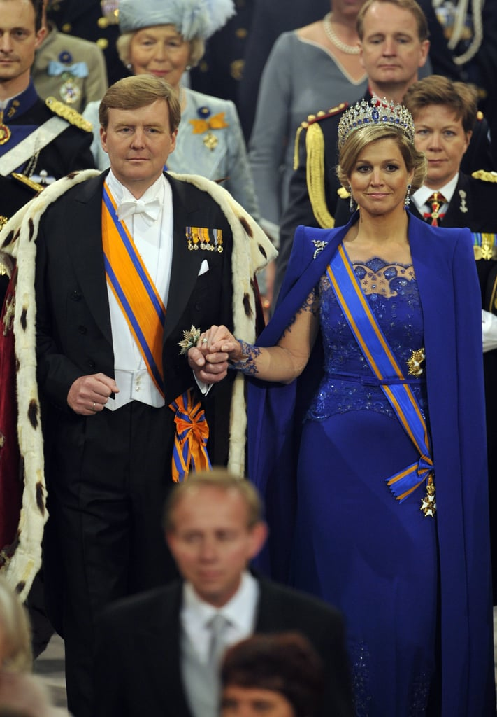The royal couple held hands during the ceremony.