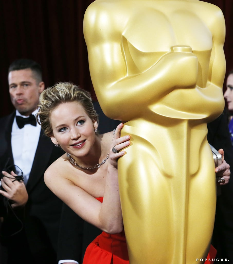 She Hid Behind a Giant Oscar