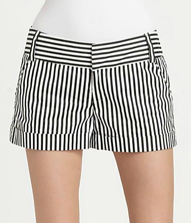 Alice + Olivia's cuffed striped shorts ($165) would be fabulous over a pair of black opaque tights and patent boots now, then with bare legs and sandals in the Summer.