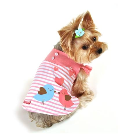 When you think of Spring, the sound of birds chirping probably comes to mind. Celebrate the season wholeheartedly with this FouFou Dog Miss Lovebird dress ($25).
