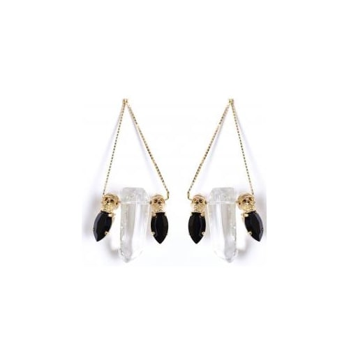 Quartz Skull Earrings