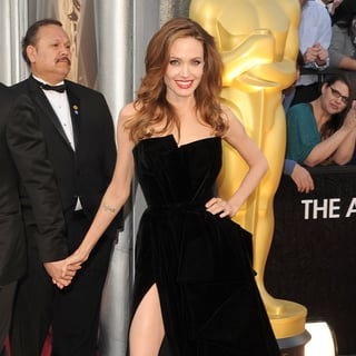 Angelina Jolie in Black at the Oscars 2012