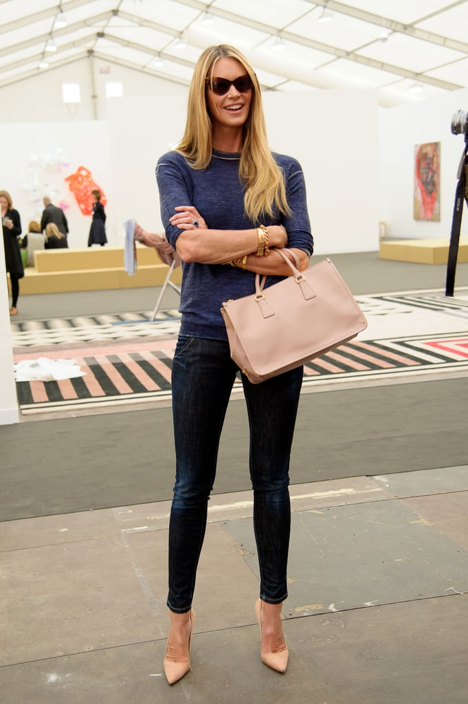 Elle Macpherson went for the polished effect in skinny dark denim and this season's pointed-toe pumps.