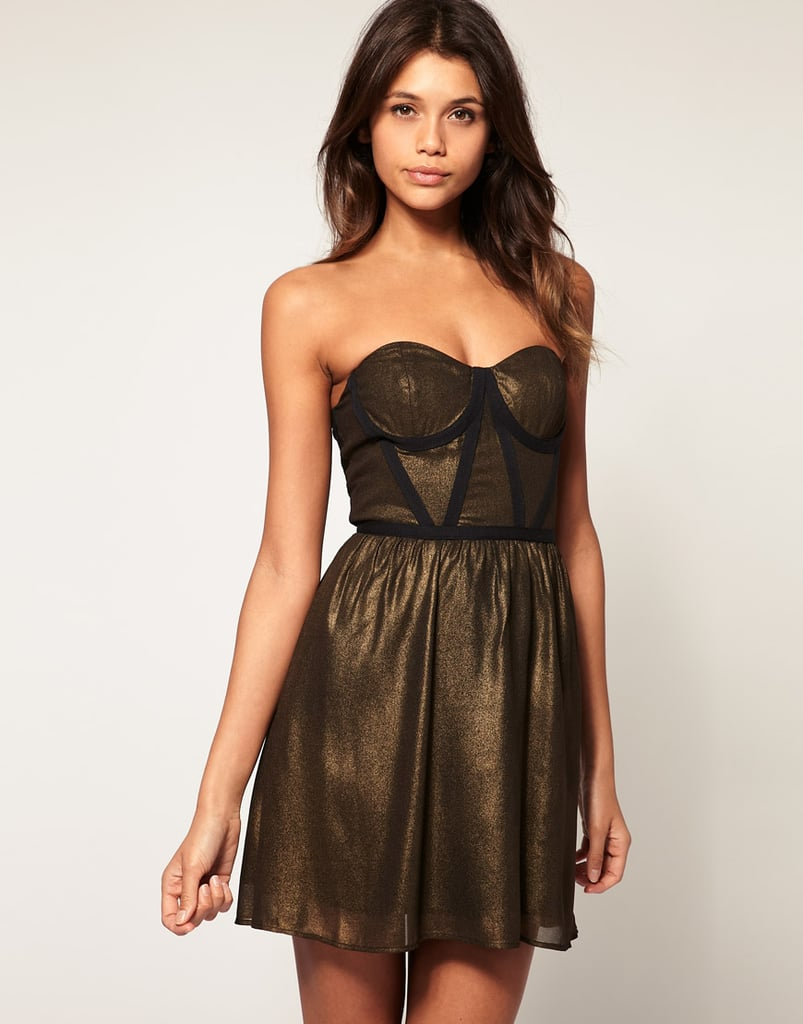 Equal parts sweet and sexy.  ASOS Bandeau Skater Dress with Contrast Trim (approx $48)