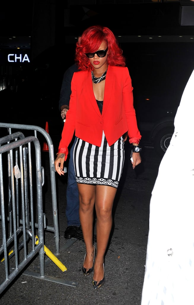 Rihanna chose a fiery red blazer and striped skirt for an afterparty hosted by Drake in 2010.