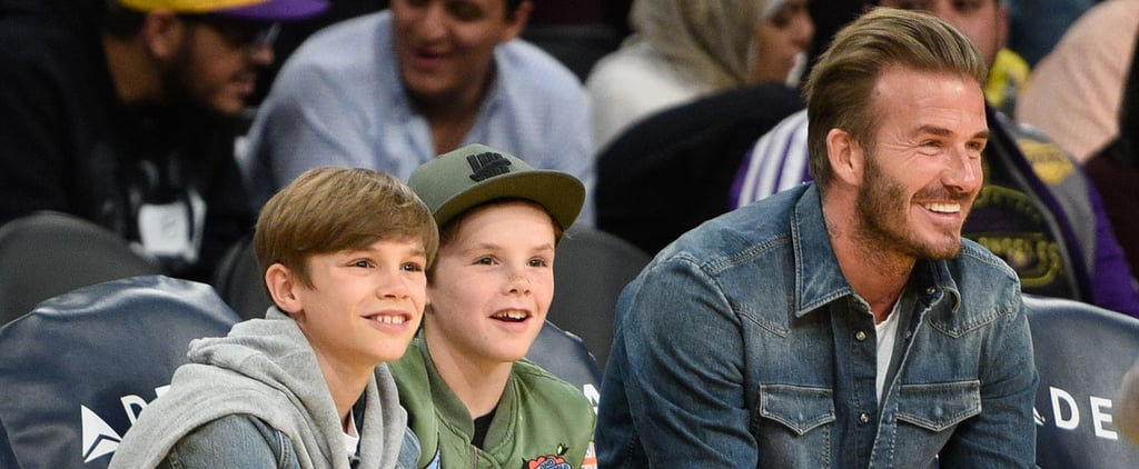 David Beckham Beams With Pride While Hanging Out With His Youngest Sons at the Lakers Game