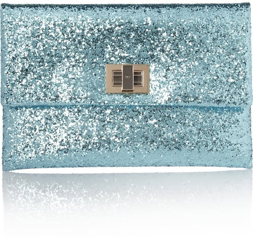 Anya Hindmarch Valorie glitter-finished leather clutch