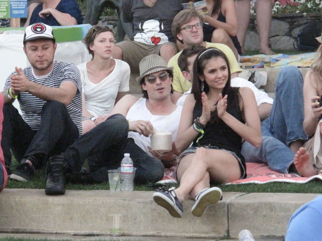Nina Dobrev and Ian Somerhalder hung out in the shade in 2011.