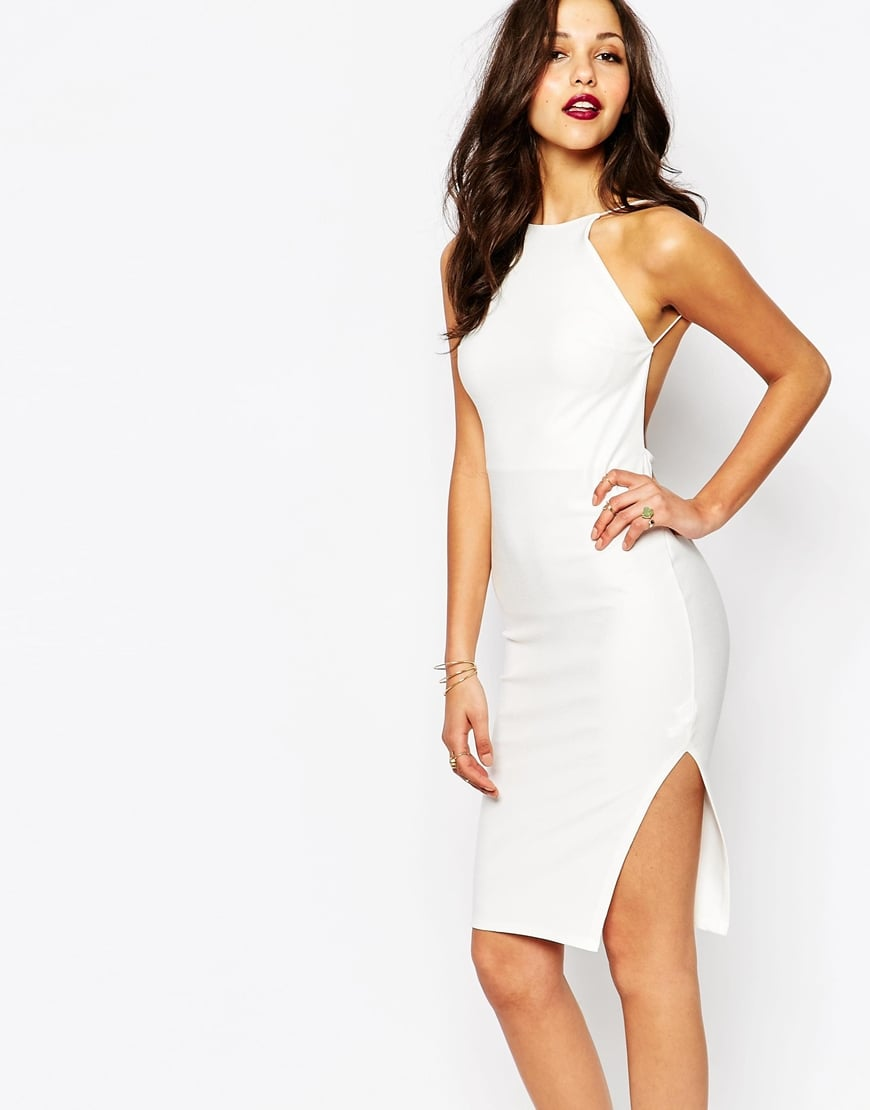 Boohoo white crepe bodycon midi dress white on for Boohoo dresses for weddings