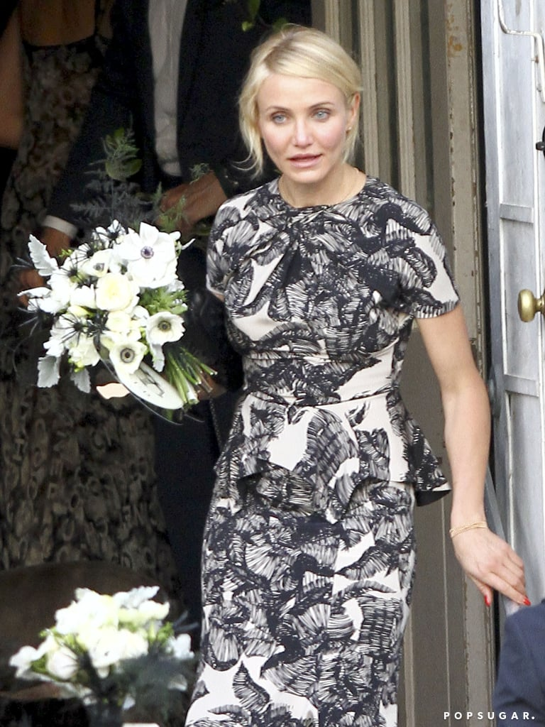 Cameron Diaz wore a black and white frock.