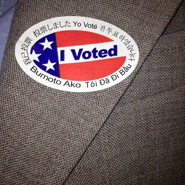 "Zooey Deschanel rocked her ""I Voted"" pin on Election Day. Source: Instagram user ZooeyDeschanel"
