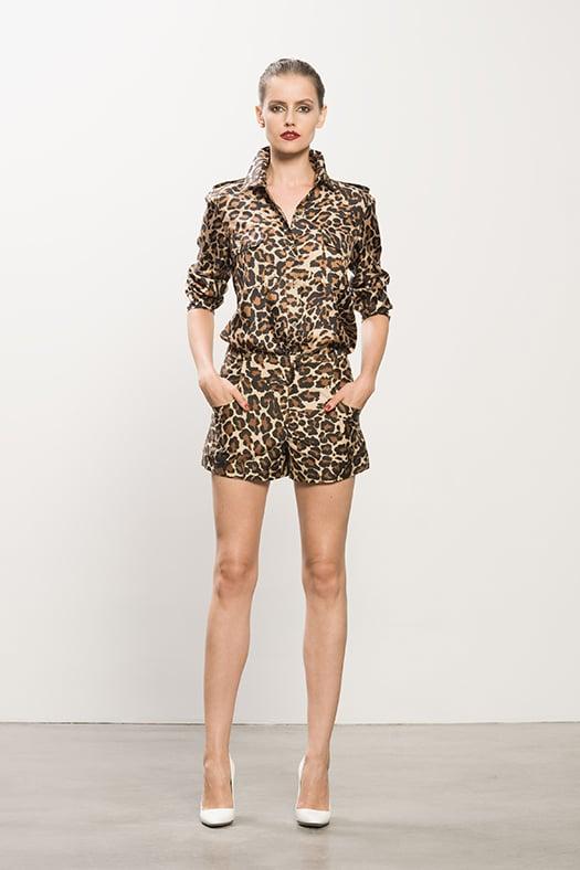 Silk Twill Double Pocket Leopard Blouse ($395), Sateen Leopard Shorts ($375), Heaven White Patent Pump ($495) Photo courtesy of Tamara Mellon