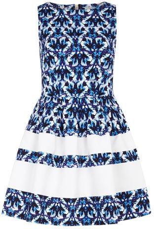 Blue flower print dress