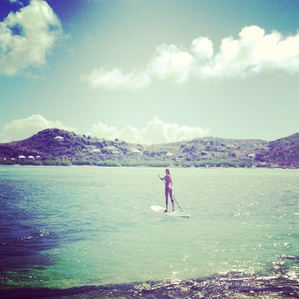 Candice Swanepoel went paddleboarding. Source: Instagram user angelcandices