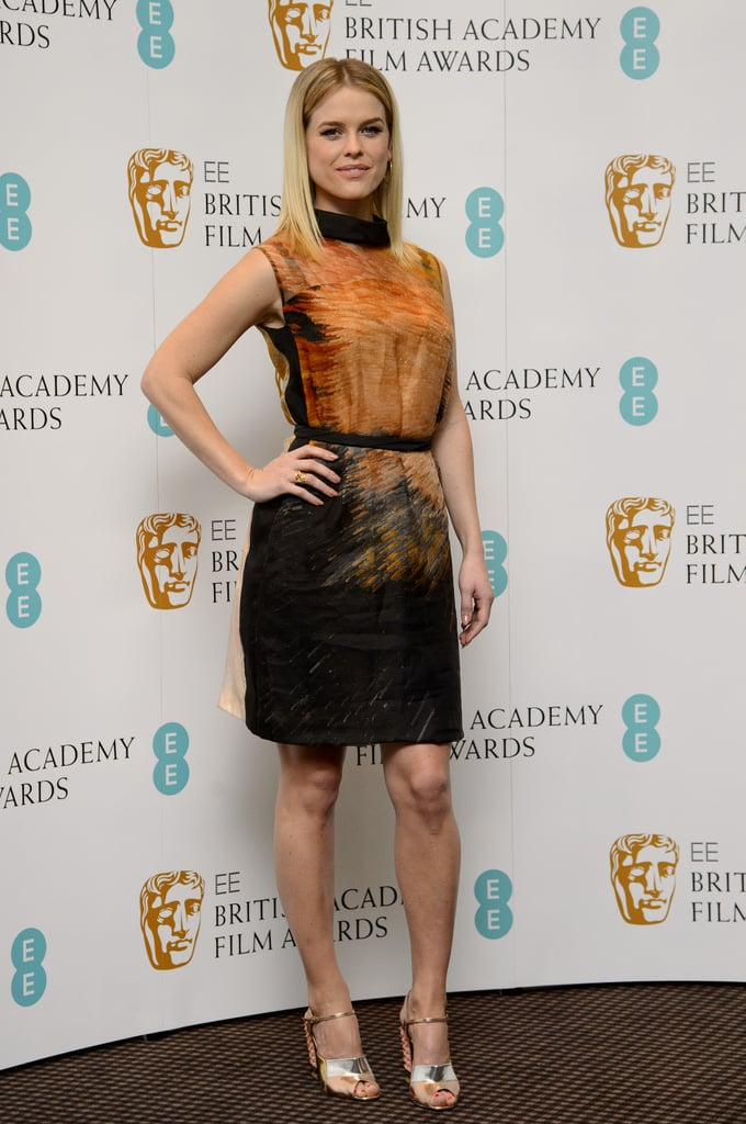 Alice Eve celebrated the EE British Academy Film Award nominations in this abstract little Fendi dress and metallic Fendi heels.