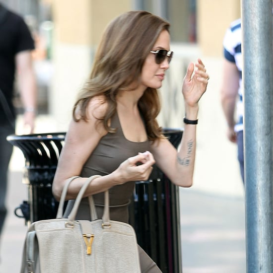 Angelina Jolie Wearing Engagement Ring Pictures