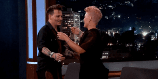 Pink Bursts Into Giggles When She Meets Her Crush, Johnny Depp