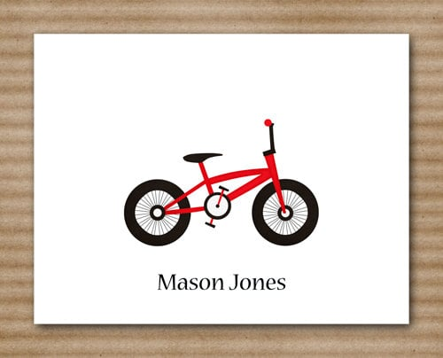 Your little one will be proud of his personalized bicycle stationery ($12).