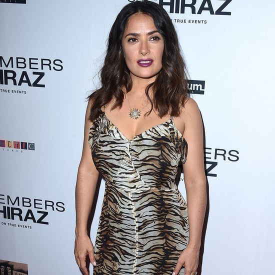 Salma Hayek Wearing Animal-Print Dress June 2016