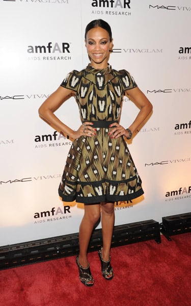 Zoe wore Louis Vuitton to the amfAR Fall 2010 Fashion Week kickoff party.