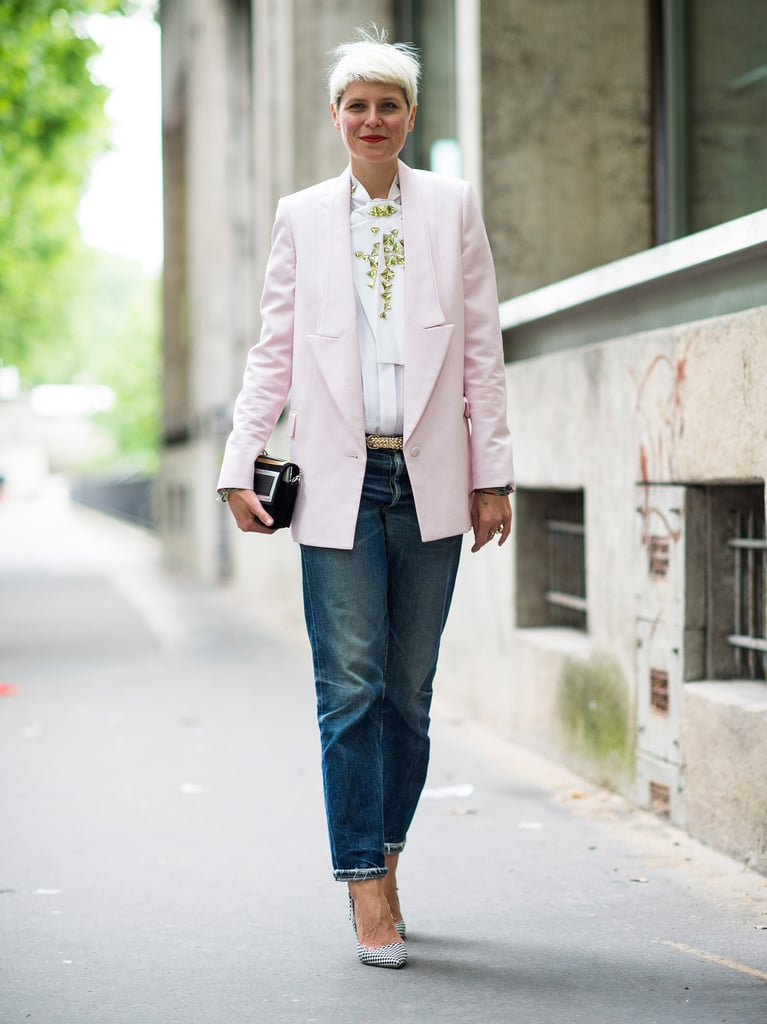 Slouchy boyfriend jeans feel chic when topped with a sharp blazer.