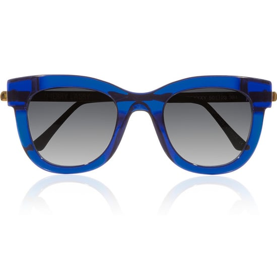 We love the bold blue hue on these statement-making Thierry Lasry Sexxxy D-frame acetate and metal sunglasses ($425).