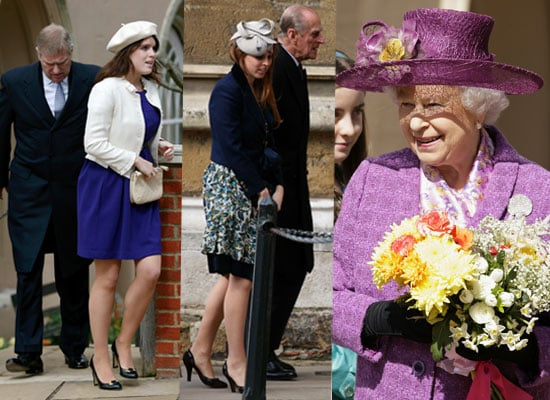 Photos of Princess Beatrice, Princess Eugenie and the Queen at Easter Sunday Service 2010