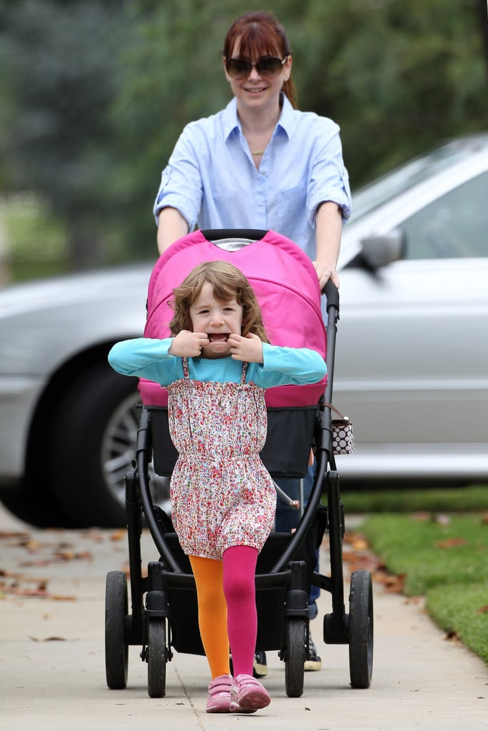 Alyson Hannigan's daughter, Satyana Denisof, made a silly face in Santa Monica on Saturday while on a walk.