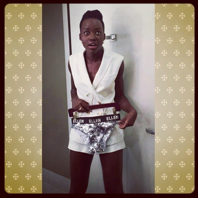 Lupita Nyong'o shared a throwback photo of her with Ellen DeGeneres's gift: sparkling, sequined underwear. Source: Instagram user lupitanyongo