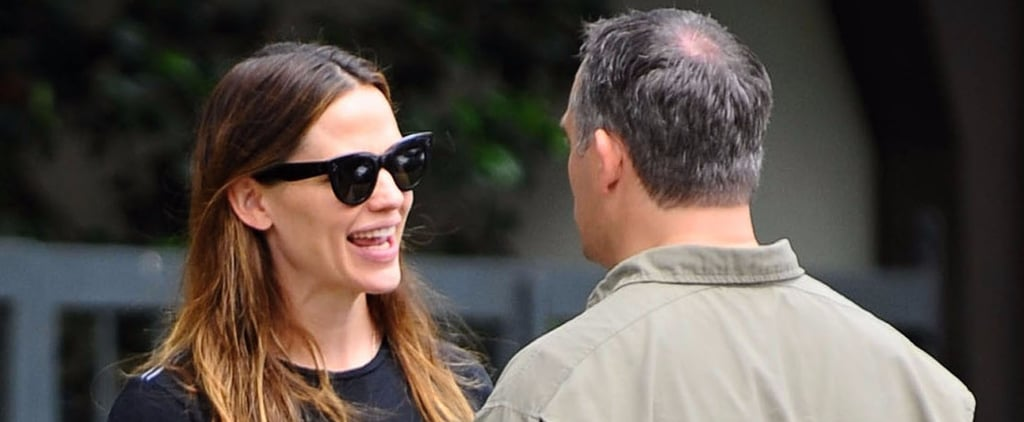 Jennifer Garner Chats With a Couple of Male Churchgoers During a Sunny Sunday Outing