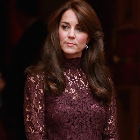 Kate Middleton Wearing Purple Lace Dress