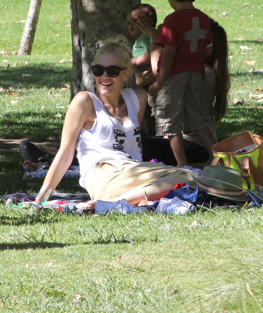 Gwen Stefani was all smiles as she watched her little guys play.