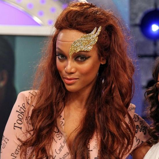 Tyra Banks Forehead: Tyra Banks Wears Angel Wing Headpiece