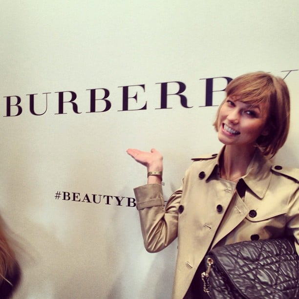 Karlie Kloss reported for duty at the Burberry Prorsum Fall '13 show during London Fashion Week. Source: Instagram user karliekloss