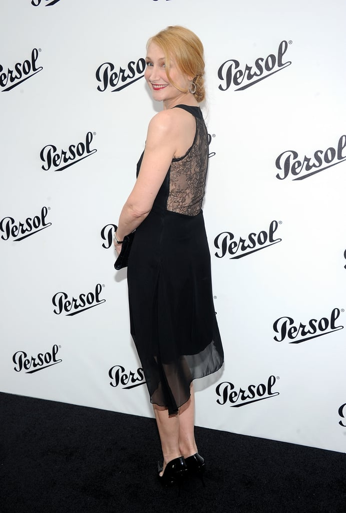 Patricia Clarkson showed off her sexy laced-back dress at the Persol Magnificent Obsessions event in NYC.