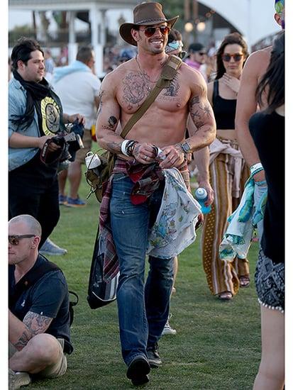 New Look? Kellan Lutz Goes Shirtless and Sports (Fake) Tattoos While Strutting Around Coachella