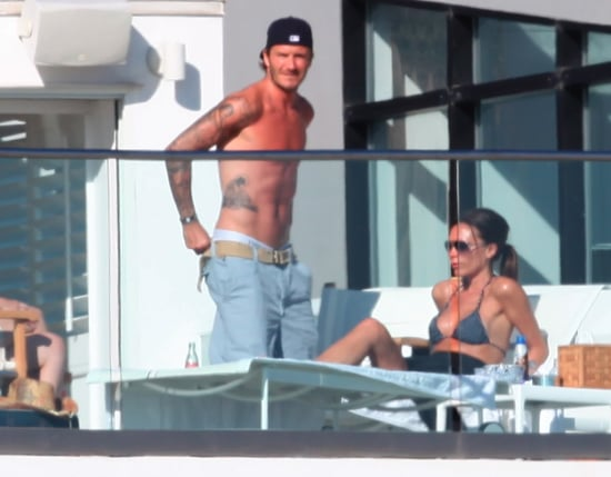 Pictures of Shirtless David Beckham With Bikini Wearing Victoria Beckham Drinking and Smoking