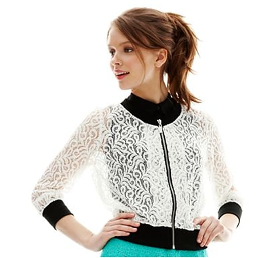 In lieu of a trusty cardigan, use a lightweight zip-up like L'Amour Nanette Lepore's lace style ($30) to add an extra layer.