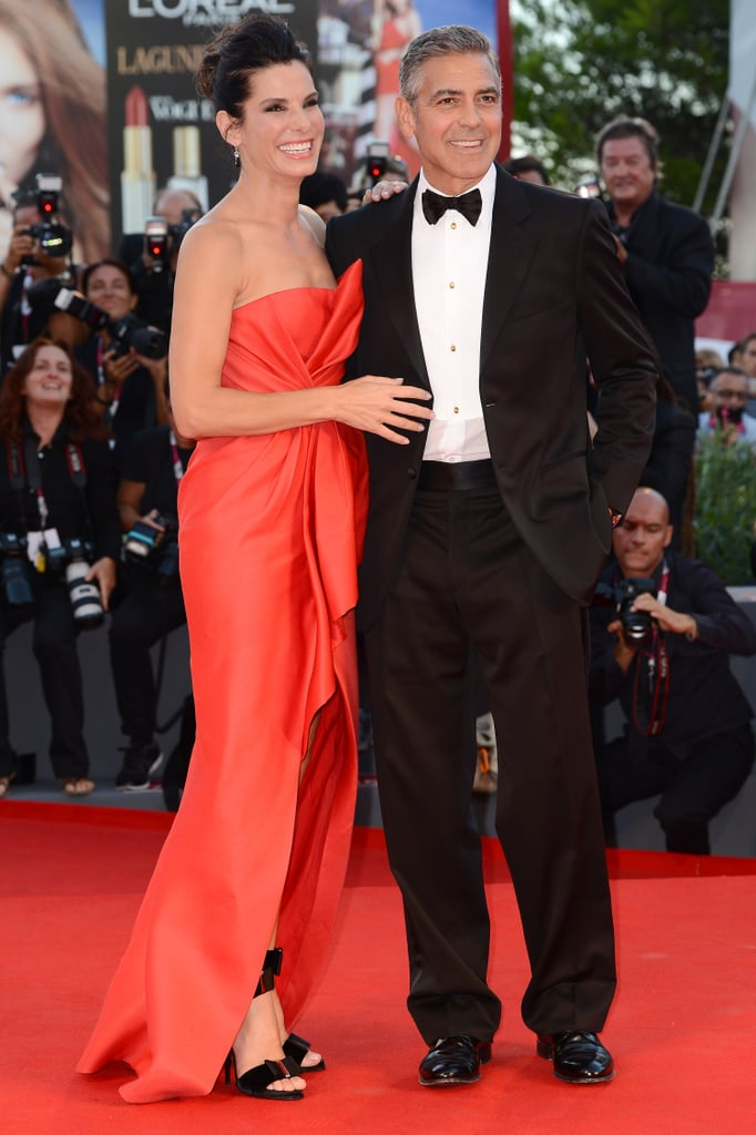 Sandra Bullock and George Clooney made a glamorous pair on the red carpet at the opening ceremonies of the Venice Film Festival.